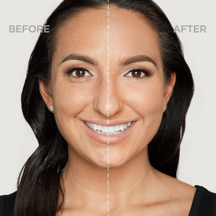 before and after photo of model wearing no foundation on left and foundation on right