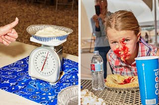 Left, a woman gives a thumbs up as she weighs a pound of custard, right, a girl with her face covered by pie filling as she sits at a table