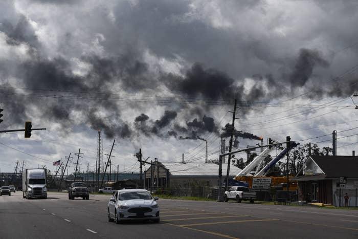 Vehicles driving in Louisiana after Hurricane Ida made landfall