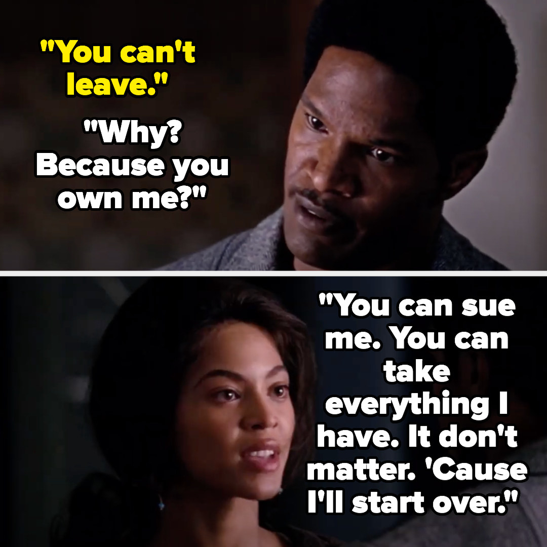 """Curtis tells Deena she can't leave, and Deena replies """"why? Because you own me? You can sue me, you can take everything I have, it don't matter, 'cause i'll start over"""""""