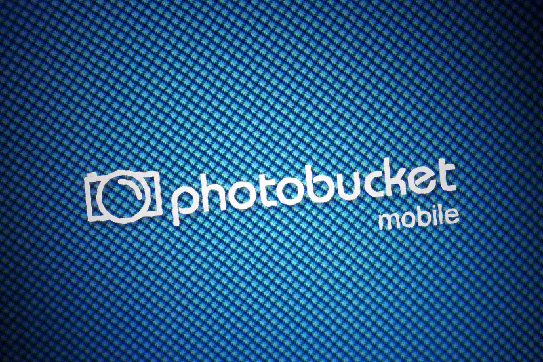 The Photobucket logo on a mobile screen