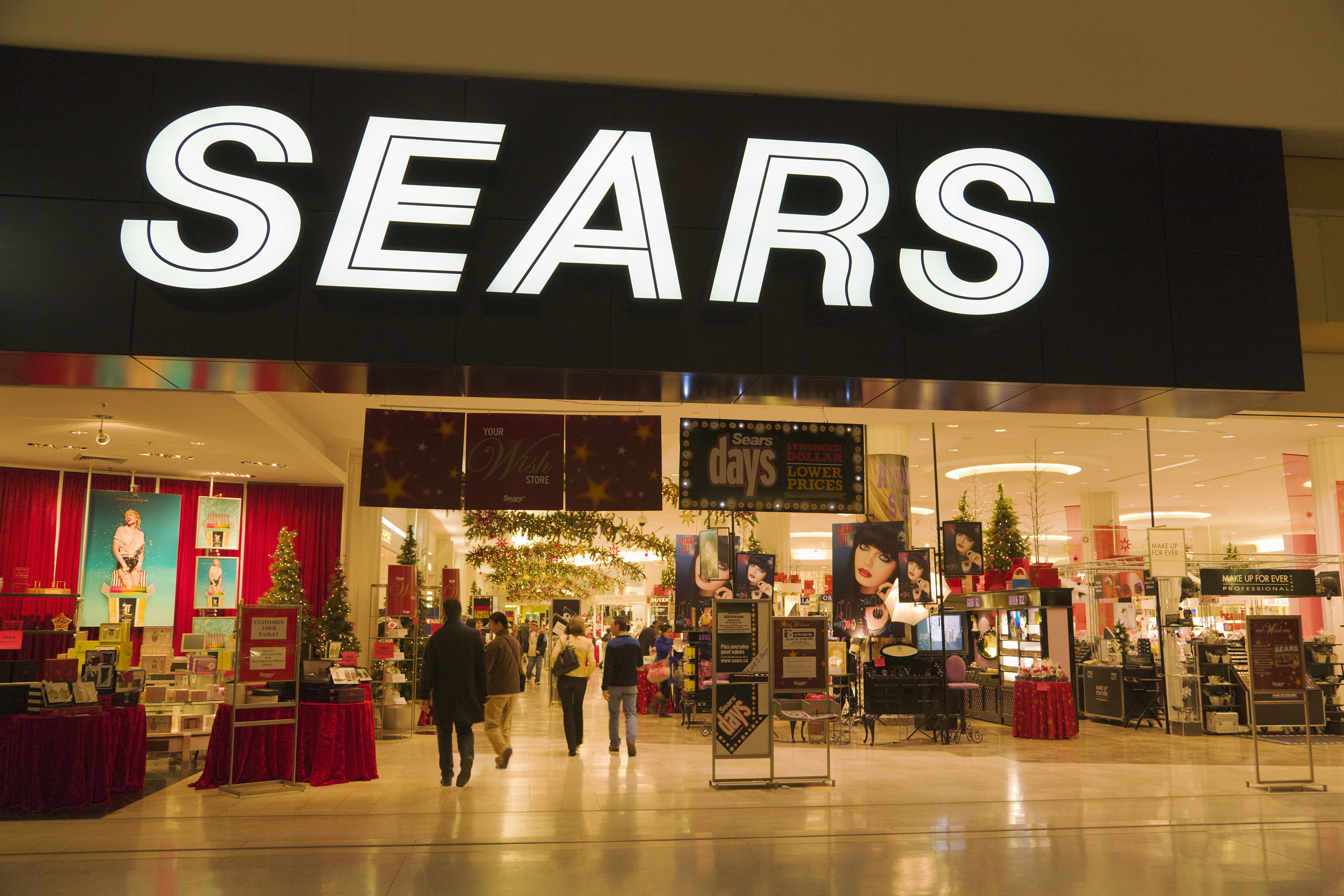 The entrance to Sears inside of a mall