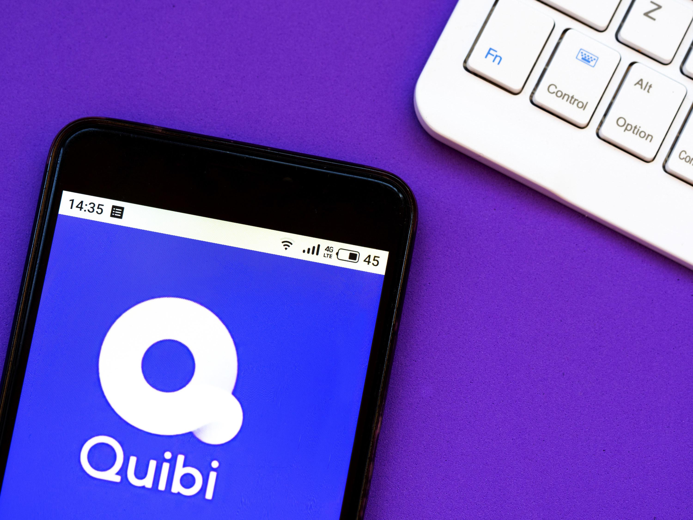 The Quibi logo on a mobile screen