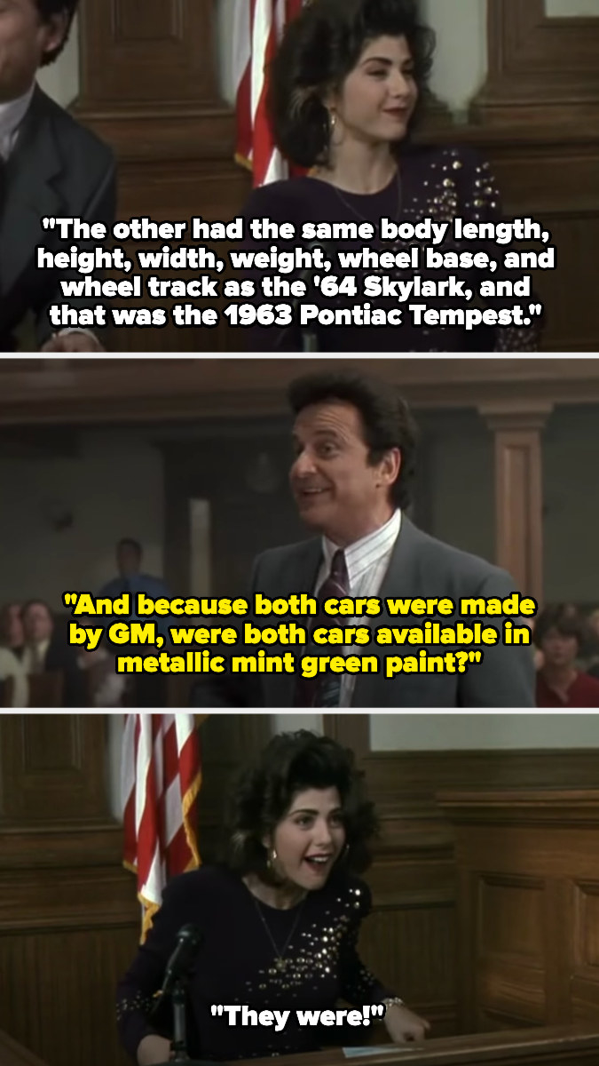 Mona Lisa describes the second car that could've made the tracks, saying it was the same dimensions as the car Stan and Bill drove — Vinny asks if both were available in metallic mint green, and Mona Lisa says they were