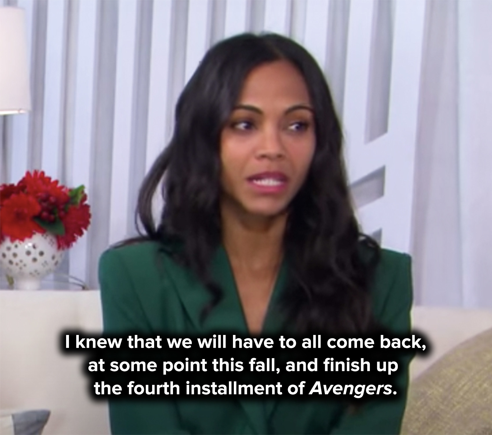 Zoe says she knew they'd all have to come back to finish up Avengers 4