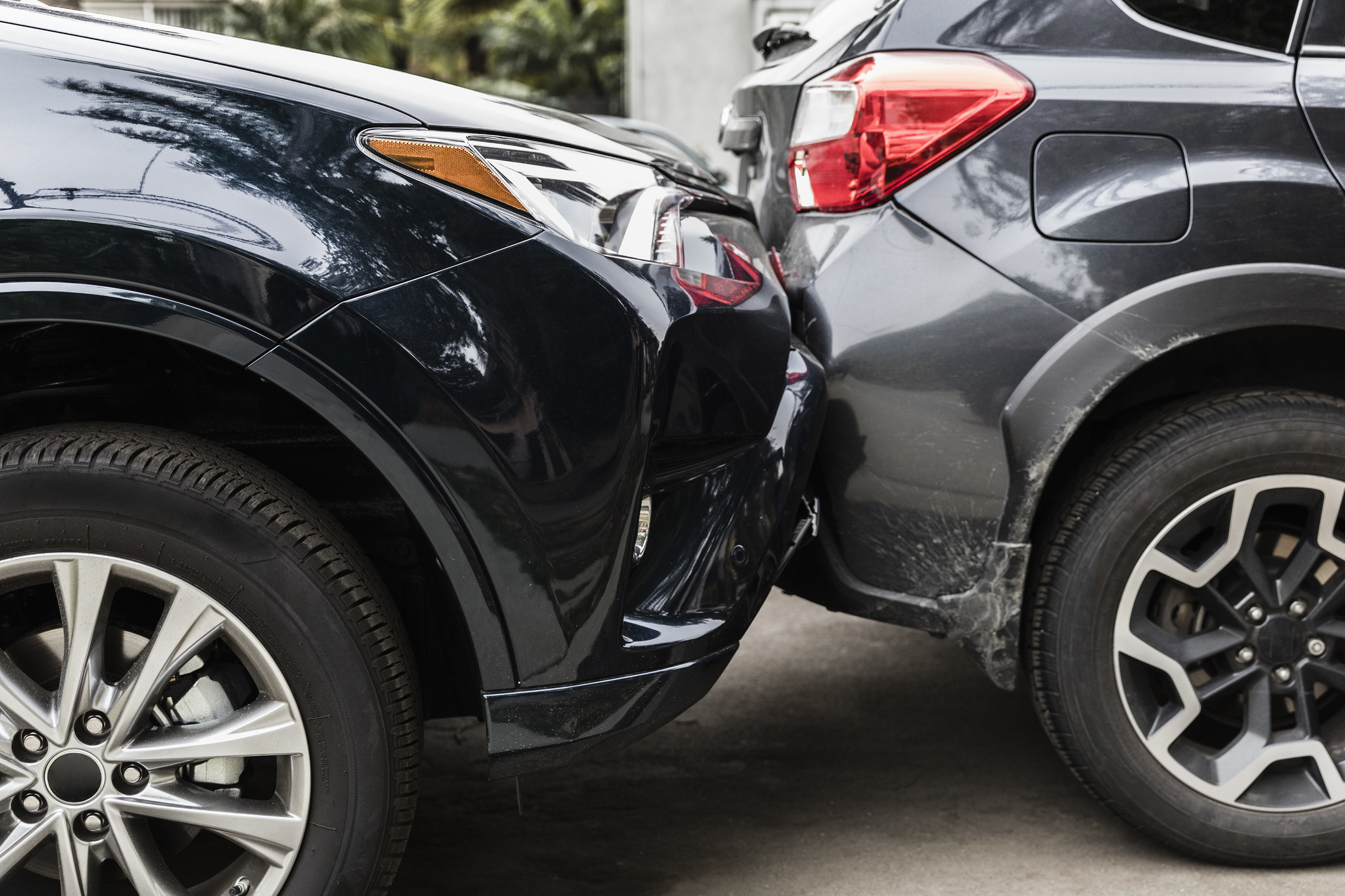 A car hits another car that's parked
