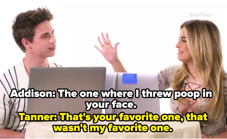 Addison Rae and Tanner Buchanan taking a BuzzFeed quiz