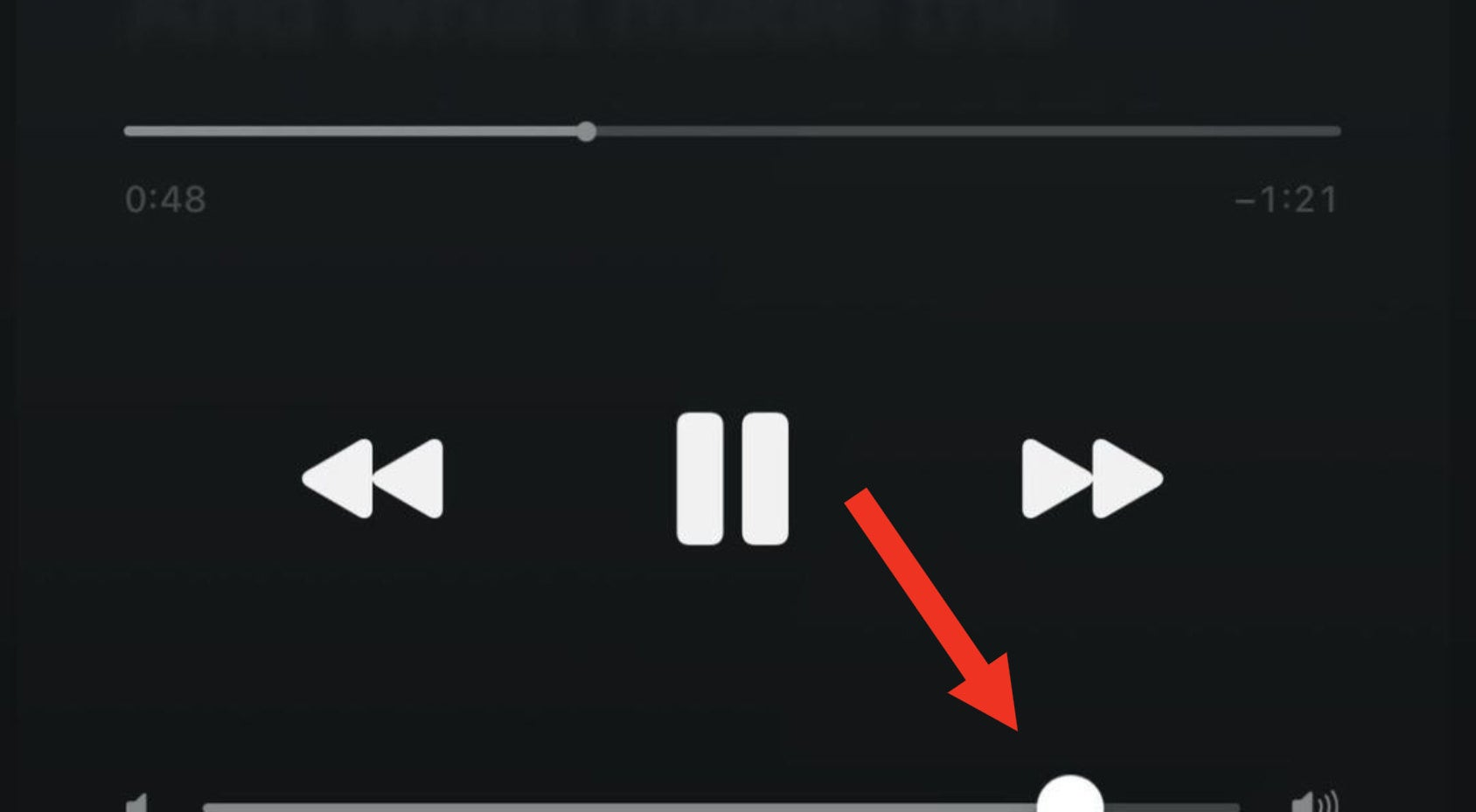 Arrow pointing to volume cut off but past midway