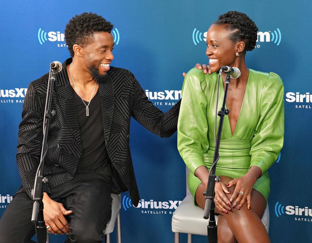 Chadwick Boseman (L) and Lupita Nyong'o take part in SiriusXM's Town Hall