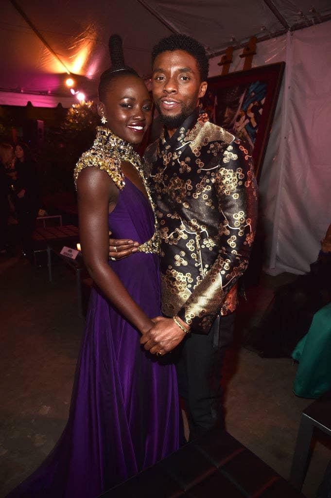 Lupita Nyong'o (L) and Chadwick Boseman at the Los Angeles World Premiere of Marvel Studios' BLACK PANTHER