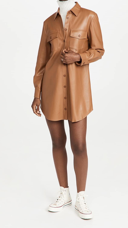model wearing the beige dress