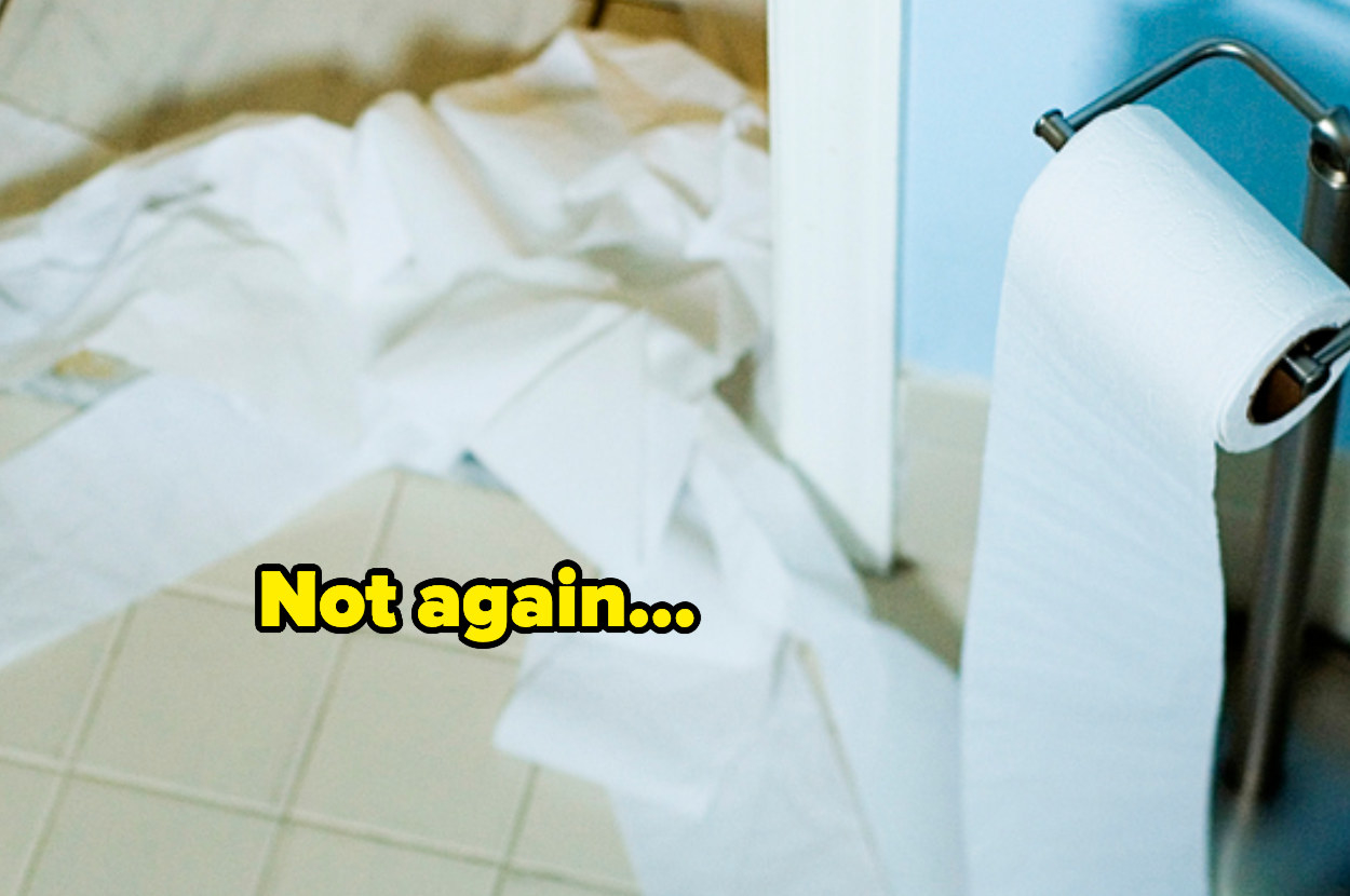 """""""Not again"""" over toilet paper all over a bathroom floor"""