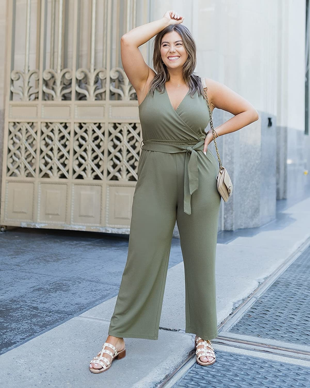 model wearing olive green jumpsuit