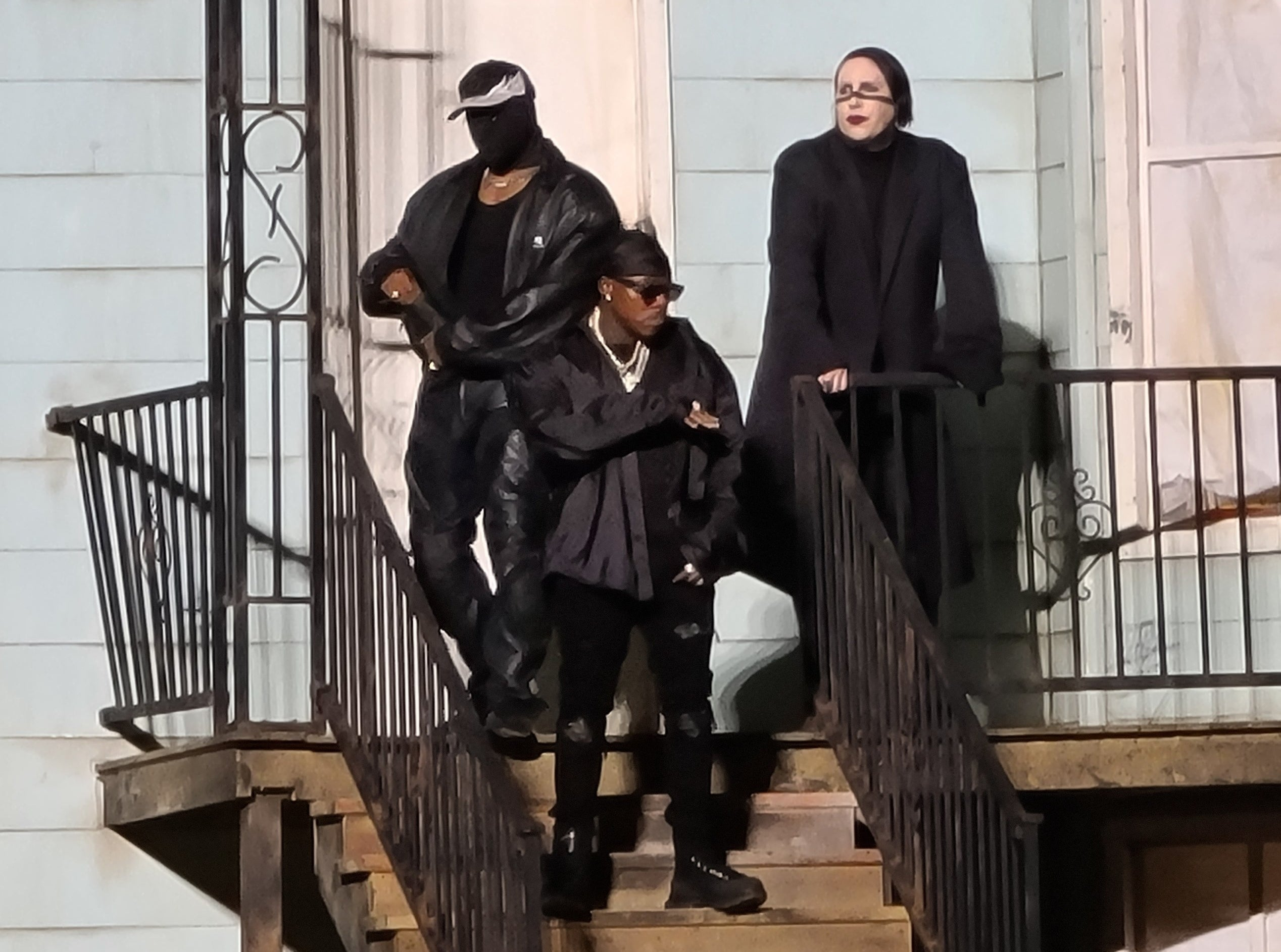 Photo of Kanye with DaBaby and Marilyn Manson