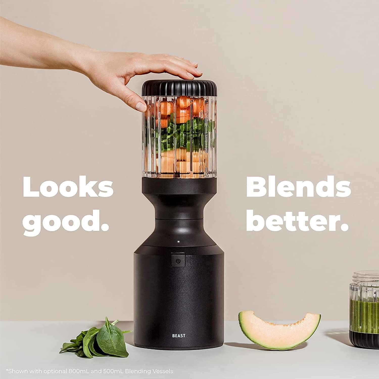 The black blender with text looks good, blends better