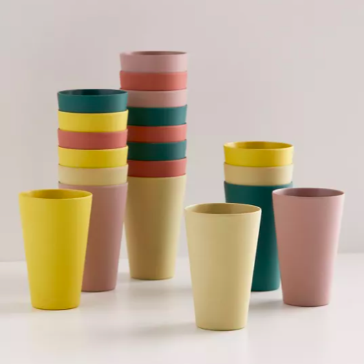 A set of colourful bamboo cups