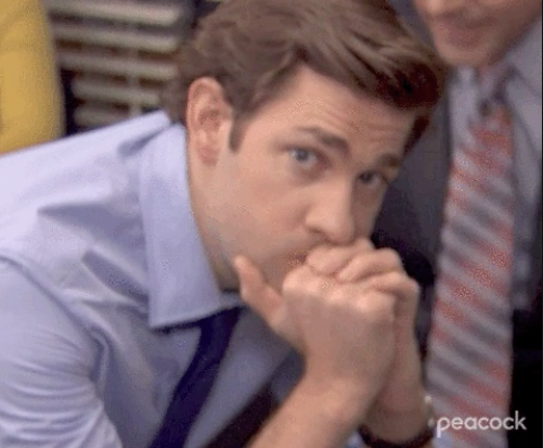 """Jim looking awkwardly at the camera on """"The Office"""""""