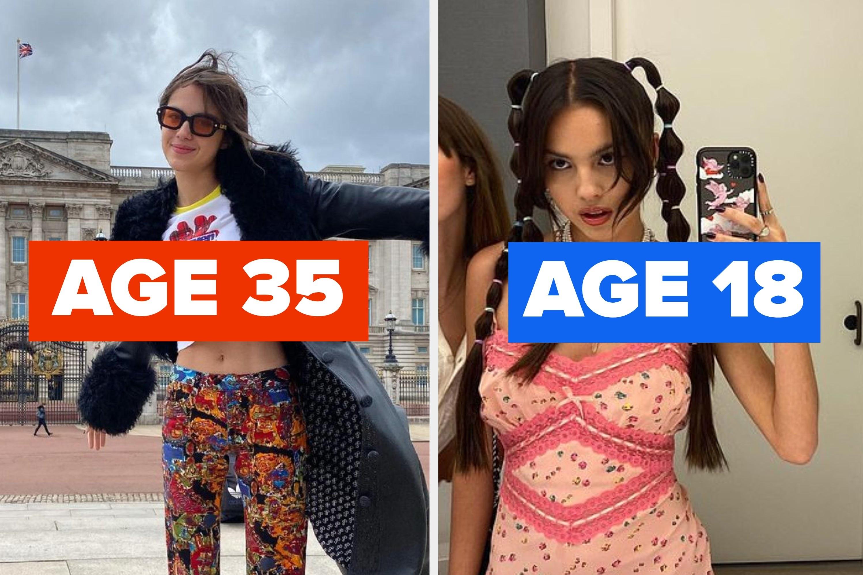 "Olivia Rodrigo with the words ""age 35"" and ""age 18"""