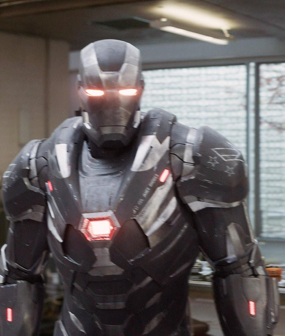 War Machine wearing his suit in Endgame