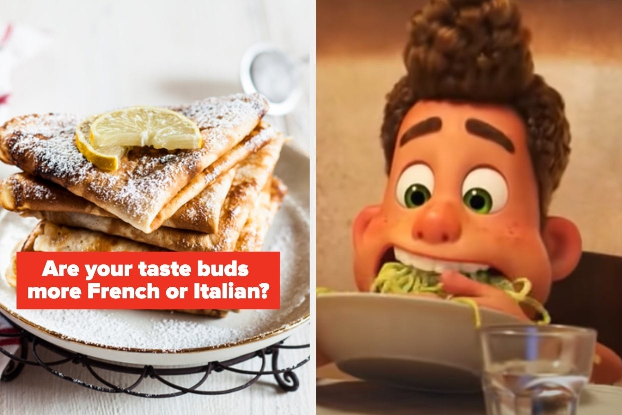 """Crepes with the words """"Are your taste buds more French or Italian"""""""