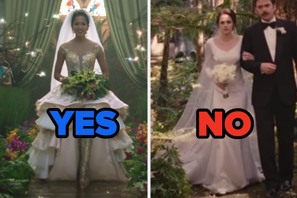 Crazy Rich Asians wedding dress with yes and Bella's Twilight dress with no