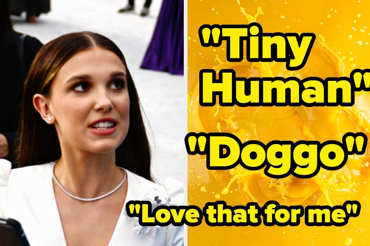 """Millie Bobby Brown and the words """"tiny human, doggo, and love that for me"""""""