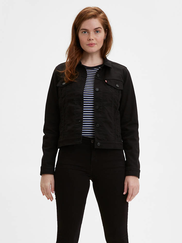 a model in a black denim jacket