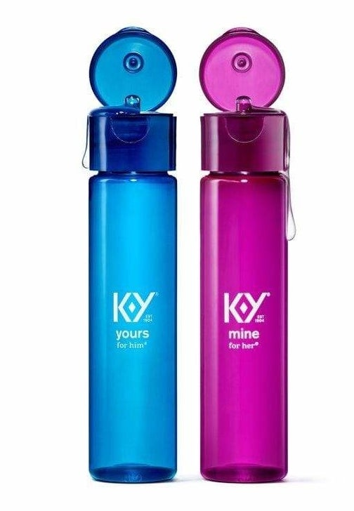 Blue bottle of Yours and pink bottle of Mine