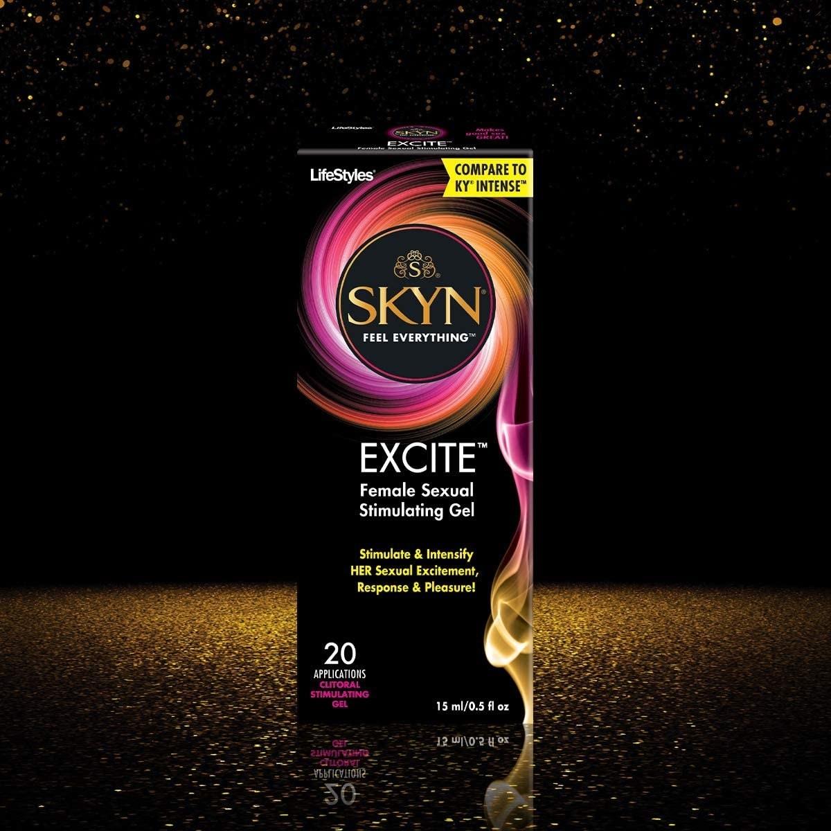 Black and pink box of SKYN Excite stimulating gel