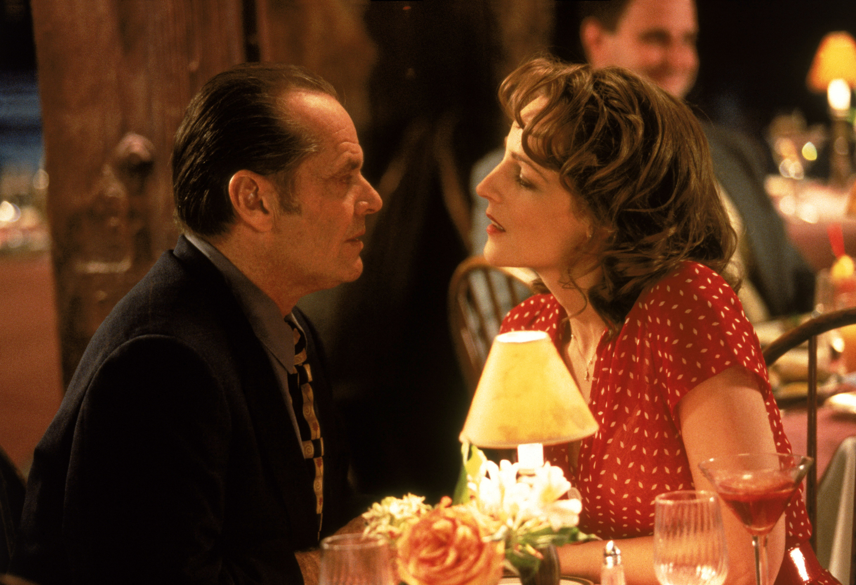 Jack Nicholson and Helen Hunt at a dinner table together