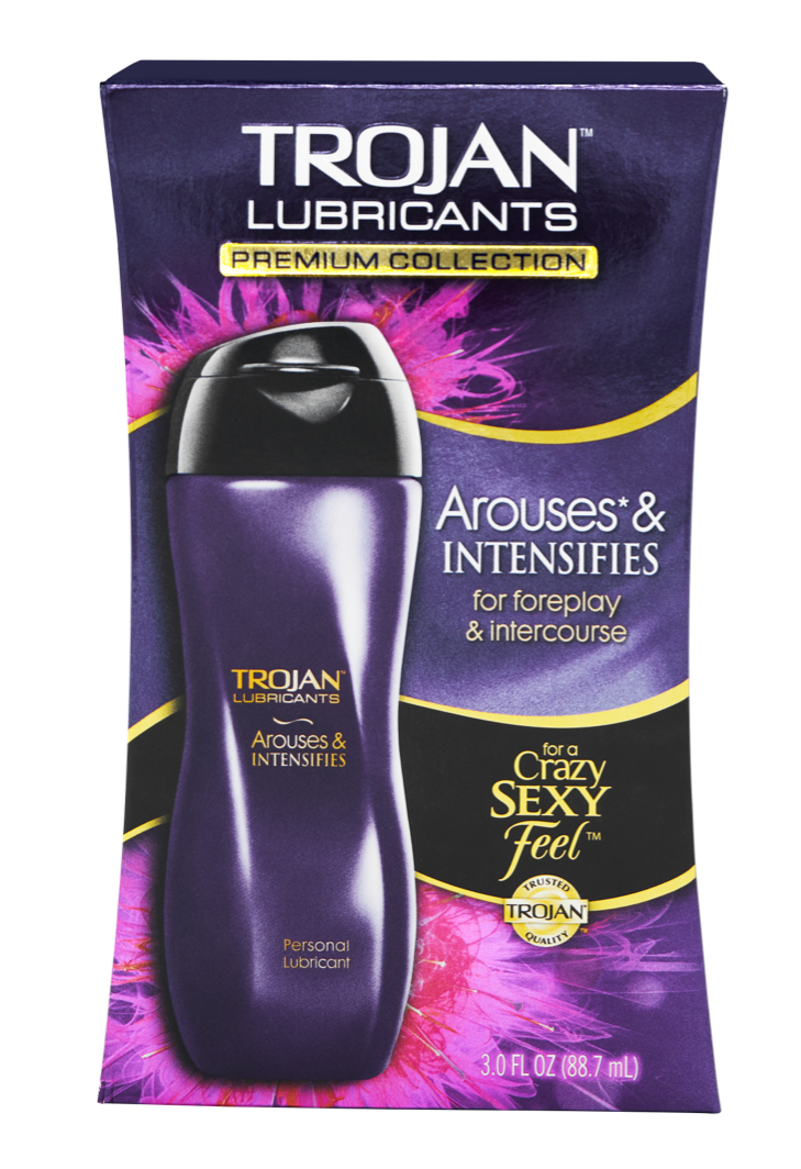 Purple bottle of Trojan Arouses & Intensifies