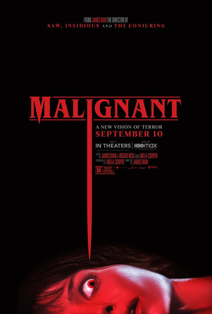 Promo image for Malignant featuring a person lying down and looking up in fear as the I in Malignant points toward their eye as if it were a nail