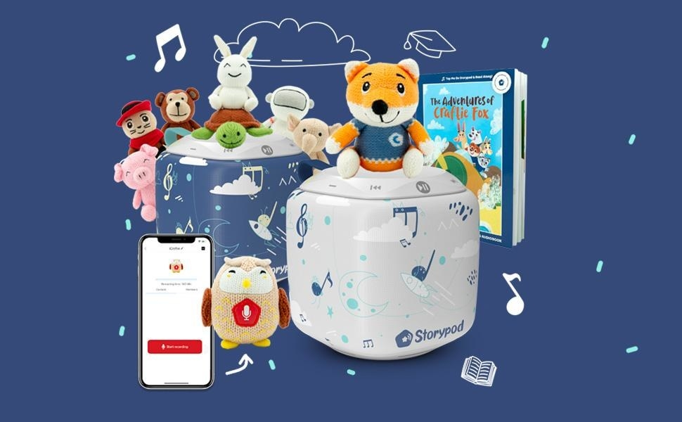 """Storypods in blue and white with various """"Craftie"""" character toys"""