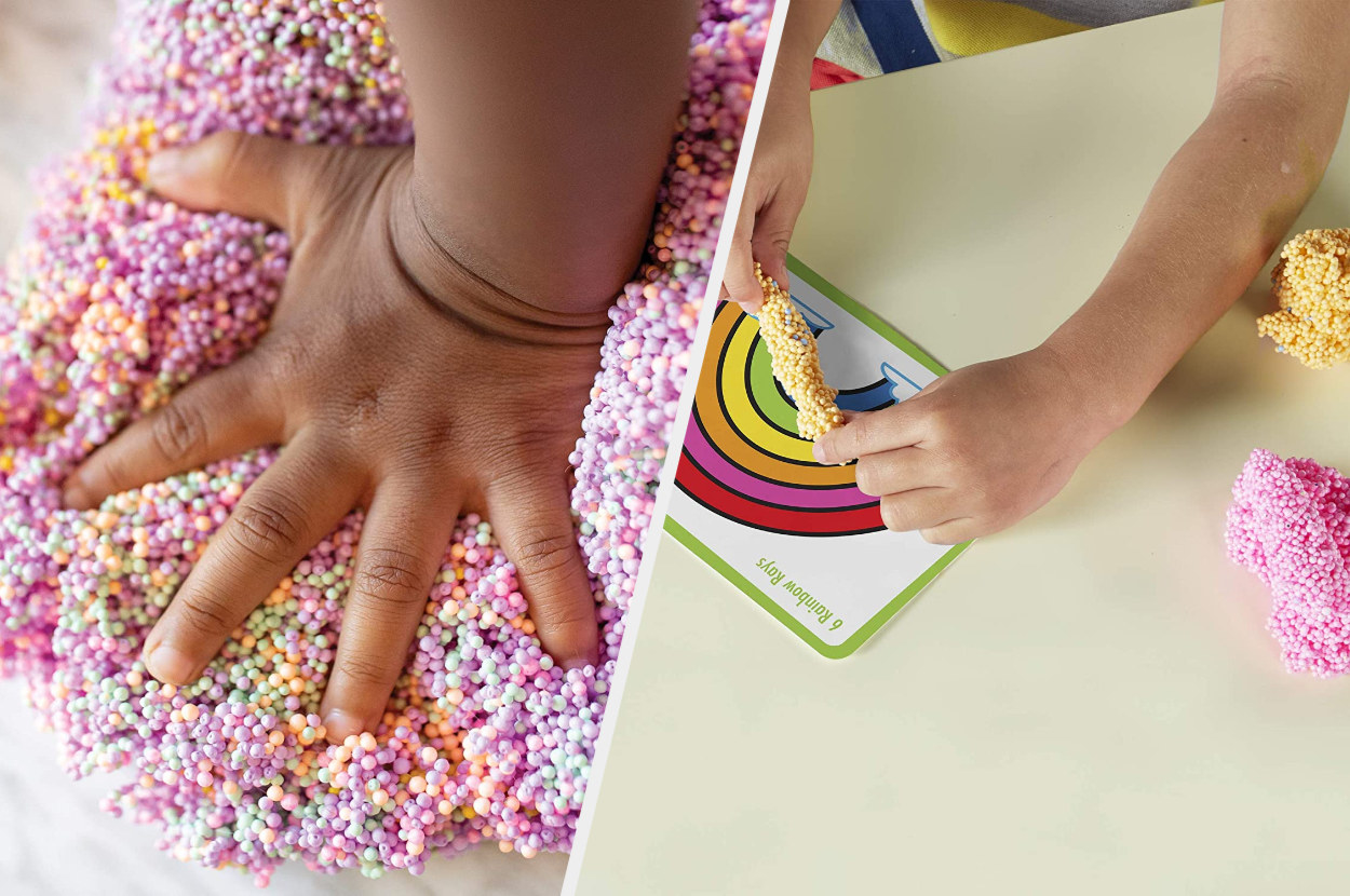 Split image of children's hands playing with foam