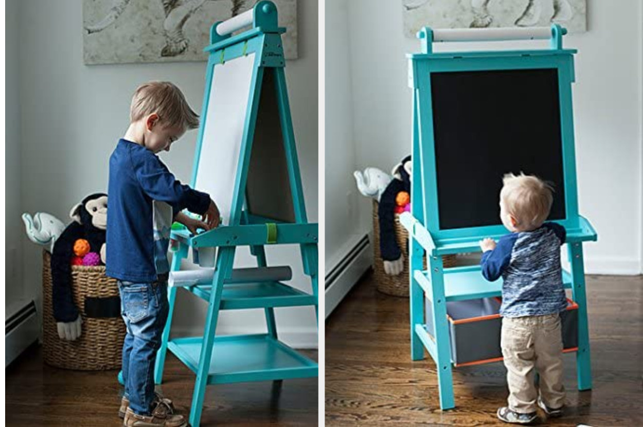 Split image of two children playing with turquoise dry erase and chalk board