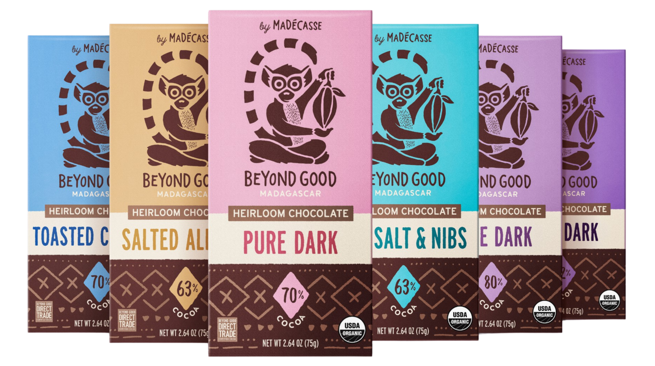 Six chocolate bars in the following flavors:sea salt and nibs, salted almond, and toasted coconut, *plus* three varieties of straight up dark chocolate with 70%, 80%, and 92% cocoa