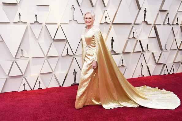 Glenn Close's metallic Oscars gown with a long train