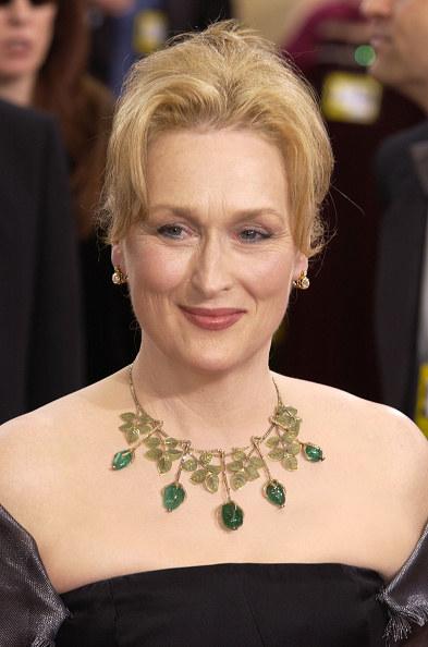 Meryl Streep wearing a very fancy necklace