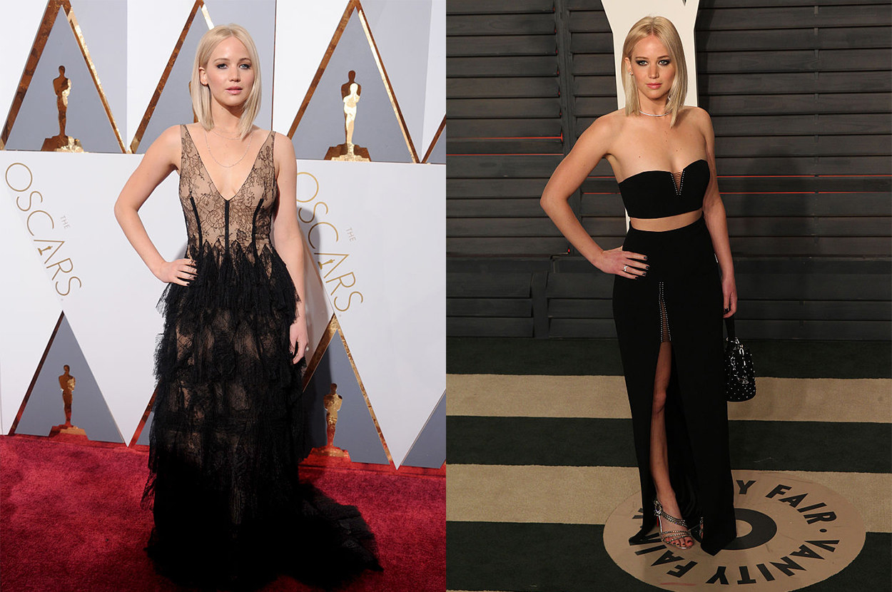 She switched from a long, lacey gown, to s sleek two-piece set