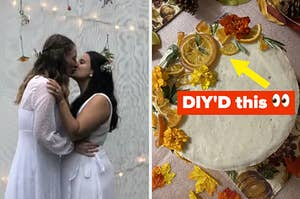 couple kisses at their wedding next to a cake with dried lemons and florals on it