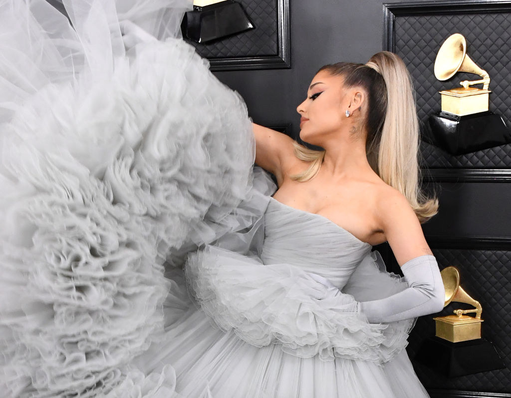 Ariana Grande in a sleeveless Grammys gown