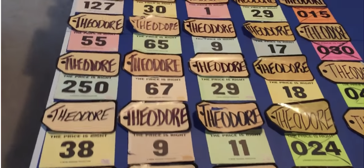 All of Ted Slauson's contestant cards from the price is right
