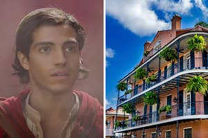 Aladdin is on the left facing the French Quarters in New Orleans