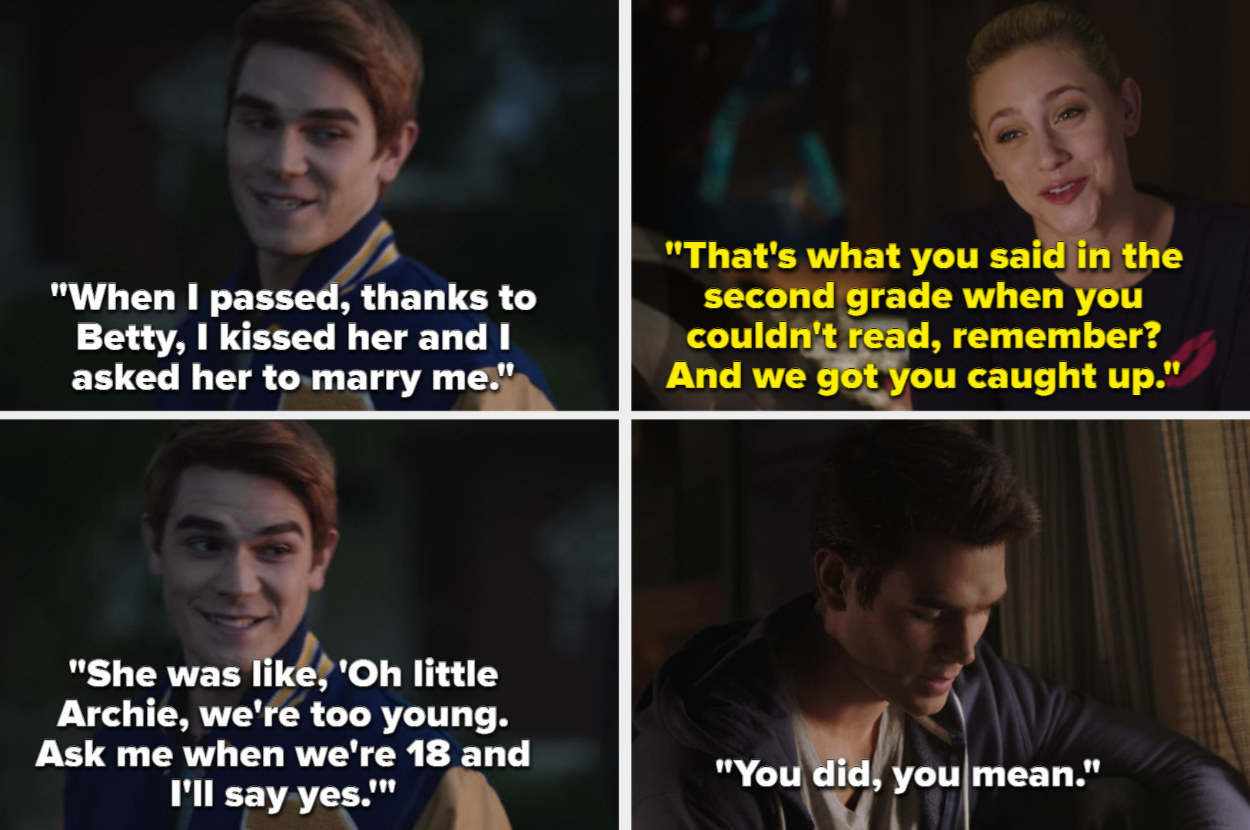 Archie tells Veronica the story of him kissing Betty and asking her to marry him in Season 1, Archie and Betty talk about how she tutored him in Season 3