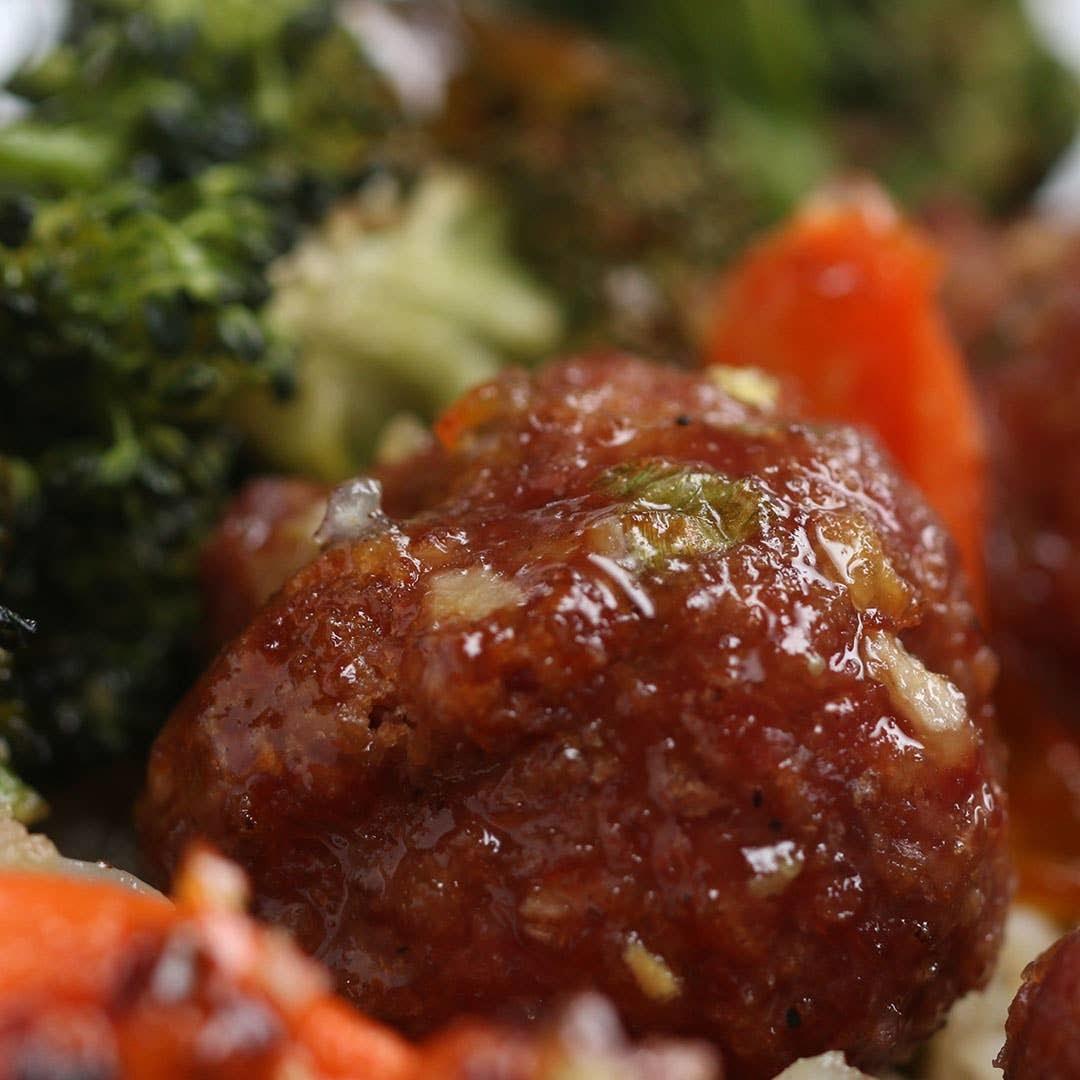 Orange Glazed Meatballs and Veggies