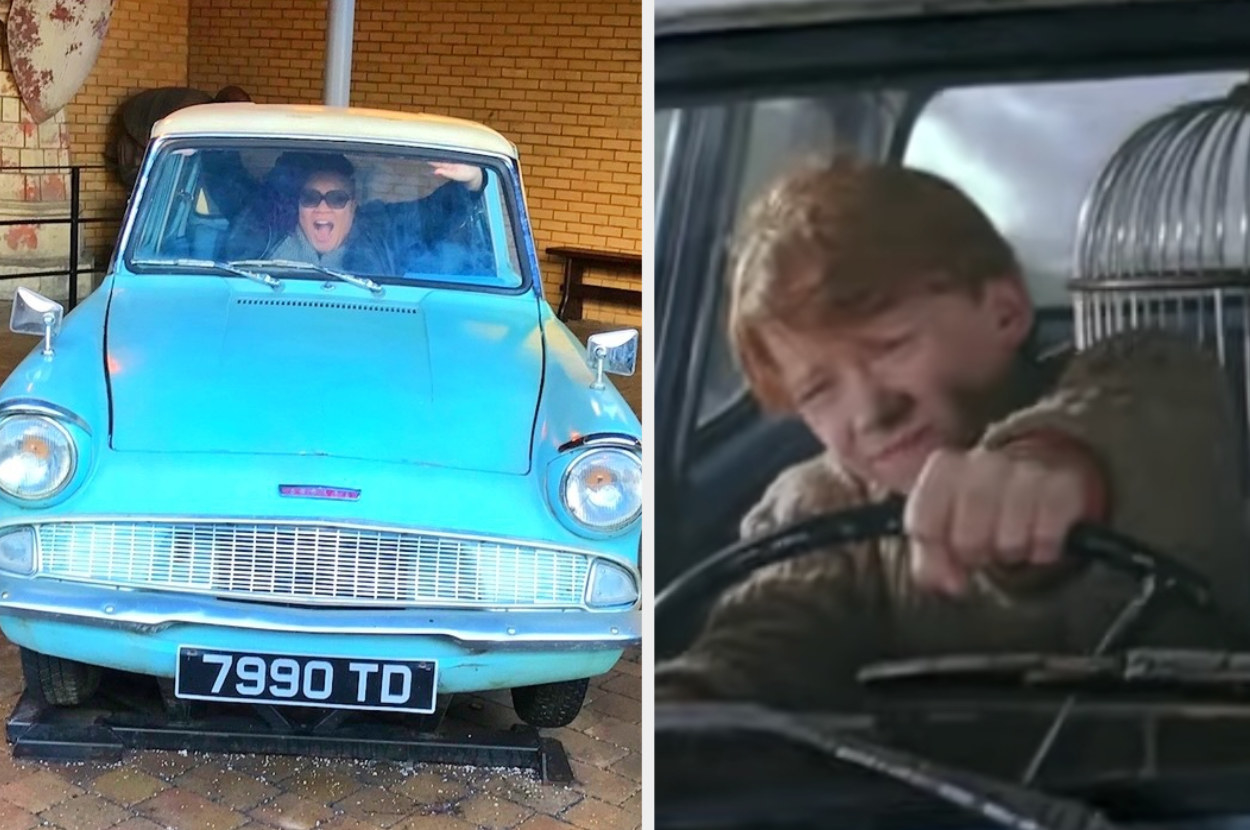 A woman is in a small car, posing in a fearful way, with Ron Weasley driving a car aggressively on the right