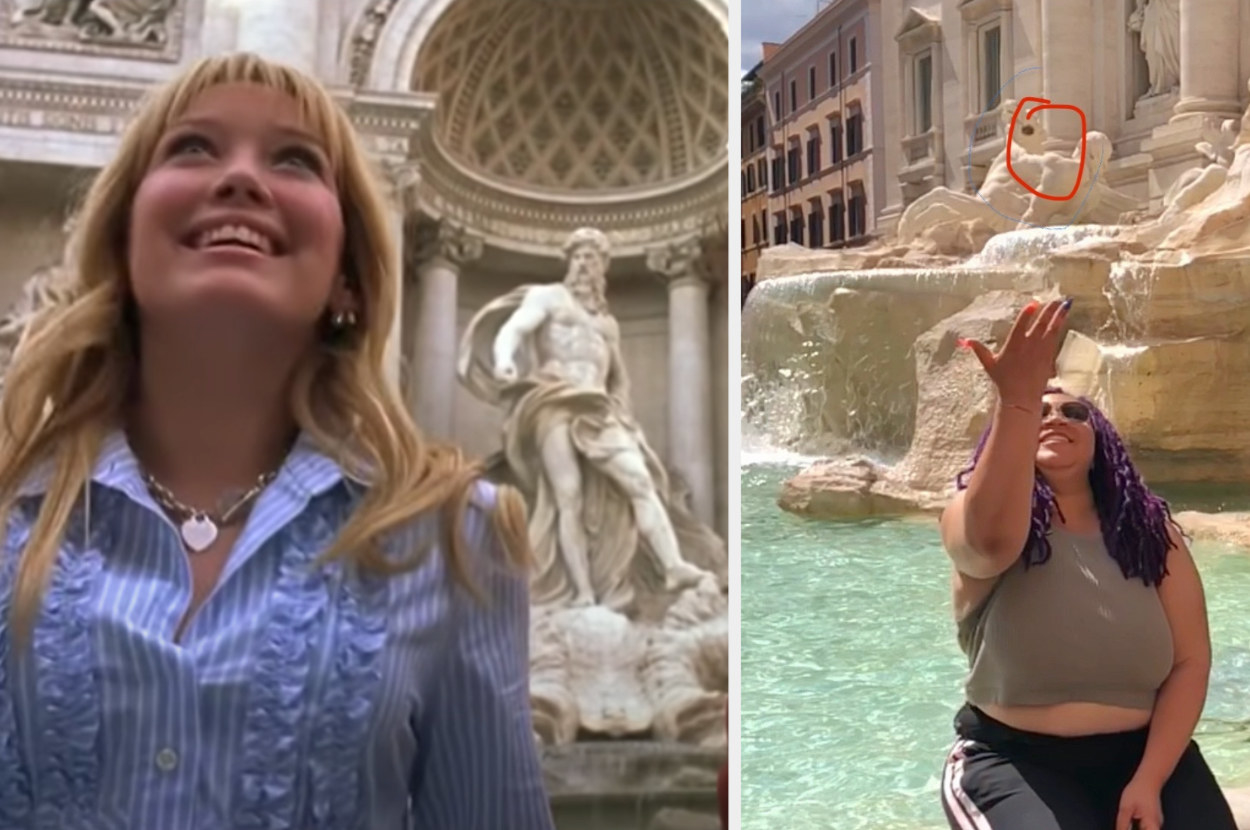 Lizzie McGuire is on the left, looking up while a woman is on the right, throwing a coin into a fountain