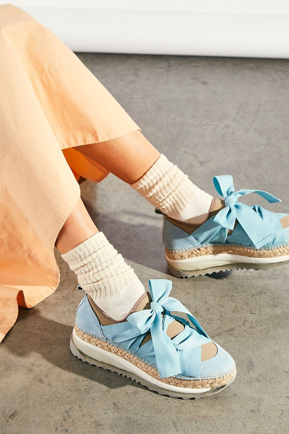 blue tie chunky espadrille shoes