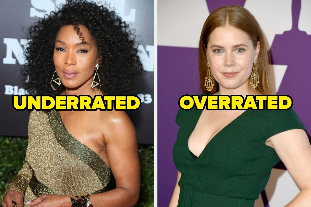 """On the left, Angela Bassett labeled """"underrated,"""" and on the right, Amy Adams labeled """"overrated"""""""