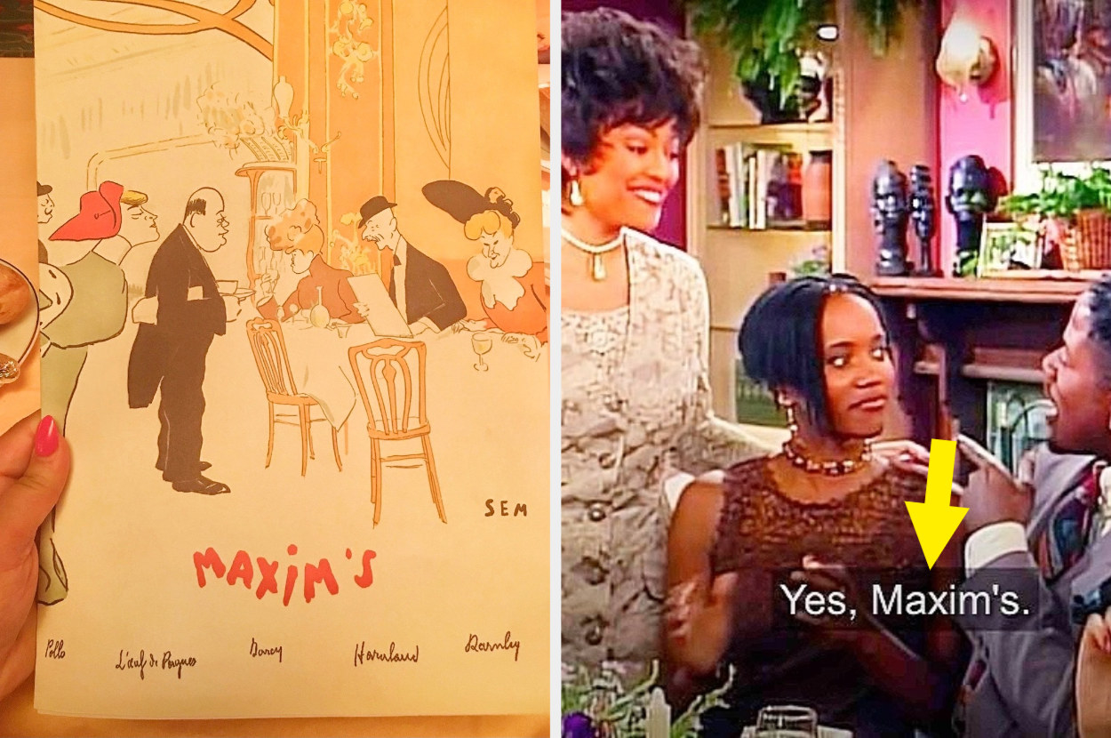 """A woman is on the left holding a menu that says """"Maxim's"""" while friends are on the right at dinner"""